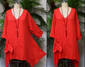 Lagenlook Tunic,  Asymmetrical Tunic, Red Top , Plus size tunic, Swing Tunic with 3 Pockets . Size L/XL- 1XL/2XL- 3XL/4XL