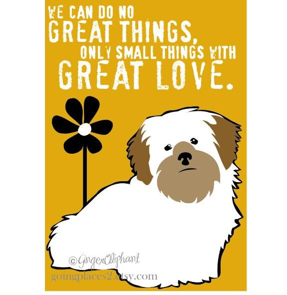Lhasa Apso Dog Art Print Wall Decor Mother Theresa Quote