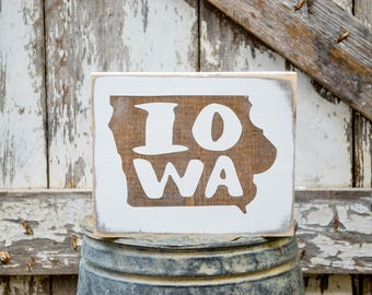 Iowa Wood State Sign | Rustic Decor | Wood Sign | Country Home | Wall Hanging | Farmhouse Decor | Whitewash | Home State Sign