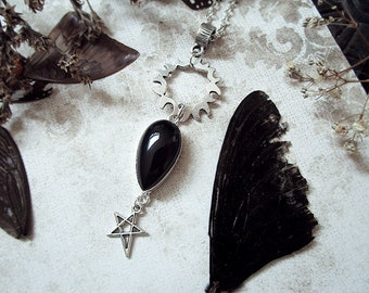 Sun Necklace, Black Onyx Necklace, Sun and Pentagram, Star Necklace, Witch Necklace, Black Crystal
