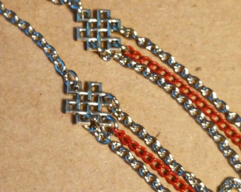 Red and Silver Multi Strand Necklace - Red Necklace