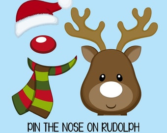 "Instant Download. ""Pin the NOSE on RUDOLPH"" game set for a Holiday Party, Christmas party, School party, Toddler party. on sale today!!"