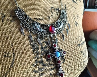 Necklace Choker Medieval Renaissance Fantasy Steampunk Cross and Angels Red and Blue Glass Stones