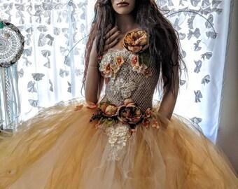 Adult realistic Fairy gold tutu dress,gold flower fairy costume,fairy wings,fairy birthday,Queen fairy costume, fairy festival costume dress