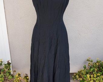 90's Black Dress, Black Party Dress, Black Pinup Dress, Mid Length Dress, Long Black Dress, Criss Cross Back, 90's Clothing