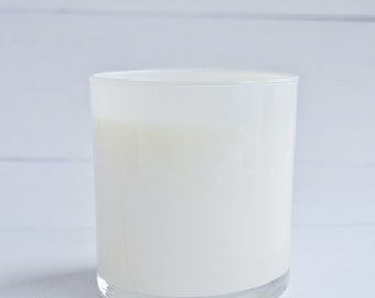 "WHOLESALE-White Glass Soy Candles, Set of 4 ""Ladera Heights"", Natural Soy Candle, Handmade"