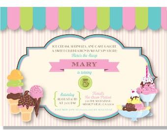Ice Cream Parlour Birthday Invitations - Digital File