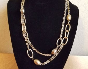 NY vintage gold tone and silver necklace, chain, silver and gold balls, signed NY, lobster closure