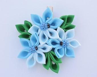 Kanzashi fabric flower hair clip. Blue kanzashi hair clip. Japanese hair clip. Kanzashi hair flower.