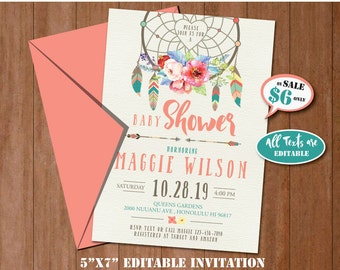 Boho Baby Shower Invitation-SELF EDITING-Watercolor Dream Catcher Party Invite-Tribal Invitation-Bohemian-Floral Wreach-Arrow-Feather-B411