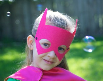 PINK BAT MASK - Perfect super hero party gift - Kids Halloween Costume Accessories - Superhero Mask