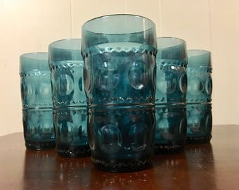 Blue King's Crown Tumblers - Set of 6 / Indiana Glass Water Glasses