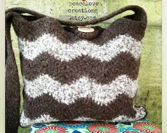 Crochet Felted Chevron Bag~Ready to Ship~FREE SHIPPING