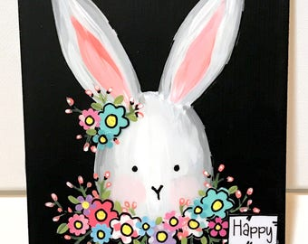 Easter Decoration, Bunny Sign, Spring Bunny Sign, Happy Easter, Whimsical Floral Rabbit