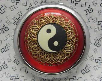 Compact Mirror - Yin Yang - Great Gift Idea - Red Compact Mirror - Comes With Protective Pouch - Bridesmaids Gifts