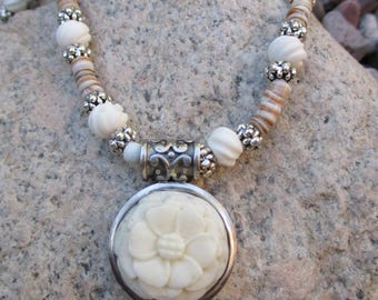 Carved Flower in Sterling Silver Pendant Necklace - Bone Carved Flower Necklace