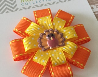Thanksgiving Hair Bow Orange and Yellow - Thanksgiving Hair Clip - Thanksgiving Hair Accessory -Turkey Hair Clip - Turkey Hair Bow - Turkey