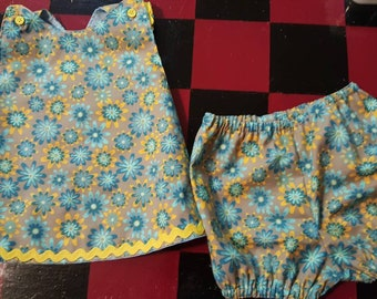 Baby Diaper Shirt with diaper cover / panties Top with Ric Zack trim size 6mos Ready to Ship