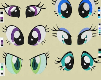"6 pairs eyes 3 sizes embroidery designs 4x4"" 3x3"" 2x2"" left & right sides  pes hus jef  soft toy"