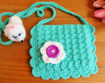 Crochet Purse, Little Girl Purse, Girls Bag, Gift for Girl, Doll Accessory, Kid's Easter Gift, Kids's Purse, Crochet Girl Purse, Blue Purse
