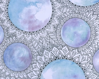 Watercolor and Ink Sky Zentangle Painting
