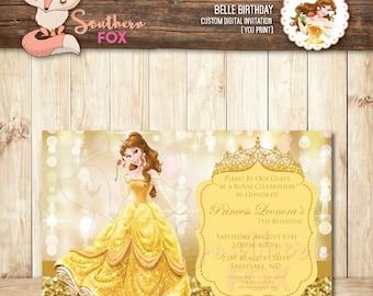 Belle invitation etsy beauty and the beast disney princess belle birthday invitation filmwisefo