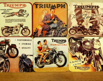 Set of 6 coasters - 95mm Square MDF - Vintage Triumph Motorcycles