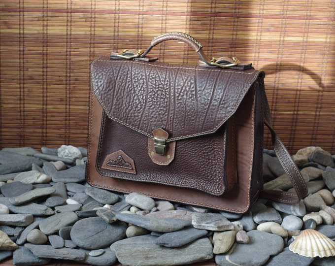 Briefcase, laptop, towel, tanned, handmade brown leather Briefcase