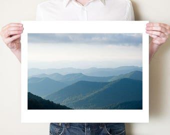 Blue Ridge Mountains photography print. Blue misty mountains artwork, oversized photo print, Asheville North Carolina landscape photograph