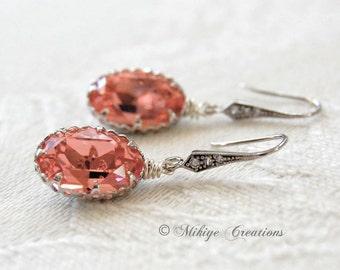 Wedding Bridesmaids Earrings, Rose Peach Wedding Party Jewelry, Chandelier Swarovski Crystal Earrings