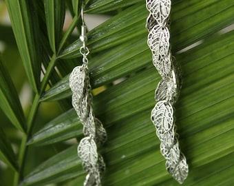 Silver Leaf Charm Dangle Earring Set