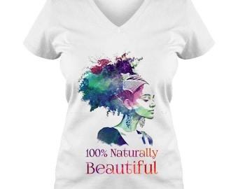 Naturally Beautiful Ladies V Neck Tee