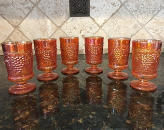 6 Imperial Grape Marigold Carnival Wine Goblet Tumblers