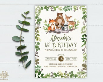 Greenery Woodland First Birthday Invitation. Green Boy 1st Birthday Party Invite. Foliage Forest Animals Baby Deer Fox Bear Raccoon. BOT5