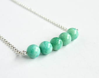 Amazonite Green Stone Necklace Sterling Silver Chain Smooth Round Beads Natural Stone Bar Necklace Gemstone Bar Amazonstone Minimal #17550