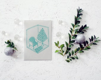 "Hand screen printed ""Christmas room"" paper postcard (gray+blue)."