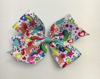 """Large Unicorn bow, 5"""" boutique bow, on alligator clips with teeth, Perfect for spring, ready to ship"""