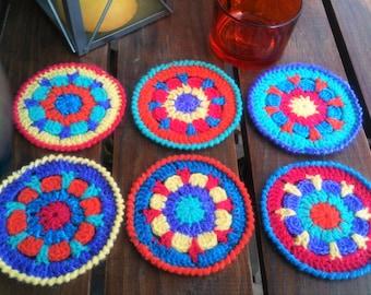 Handmade multicolored coasters with crochet
