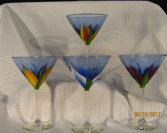 Hand painted Flowers on blue Martini glasses