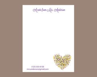 Flower heart notepad, teacher gift, personalized notepad stocking stuffer