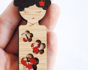 Kokeshi Brooch // Hand Painted Sakura // Last one!
