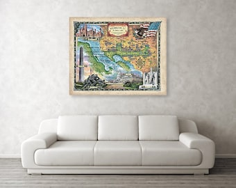 Washington dc., washington dc map, oversize wall art, huge map, washington dc skyline, travel gifts, washington DC gifts, DC map, DC travel