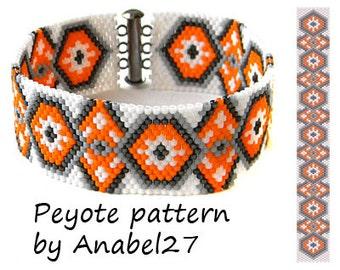 Peyote pattern, beadwork, ethnic style, bead pattern #40, beaded bracelet pattern, delica seed beads, beadwoven jewelry, orange, white, grey