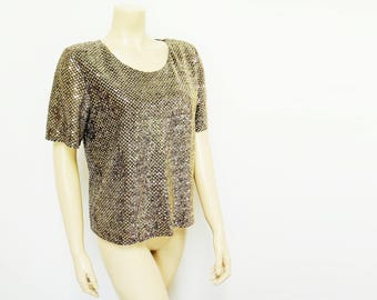 Free Shipping* Gold T-shirt, 90s, UK14, Gina Bacconi, Eveningwear, Metallic Vintage, Gold Clothing, Women's Vintage, Party, Prom