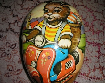 """Vintage 11"""" German Lithocraph/Paper Mache Easter Candy/Surprise Container Egg w/Bunny raiding a Scooter.Fab.11"""""""