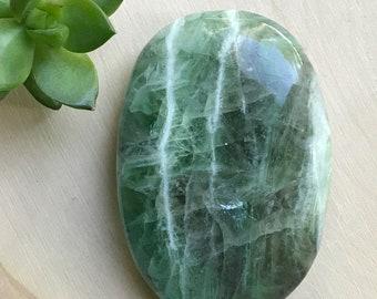 Green Fluorite Palm Stone - Polished Green Fluorite Crystal - Fluorite Healing Crystal - Meditation Crystal - Chakra Crystal - Hippie