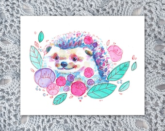 Floral Hedgehog Art Print and Postcard || Perfect for Animal Lovers and Nursery || Hand-painted Artwork