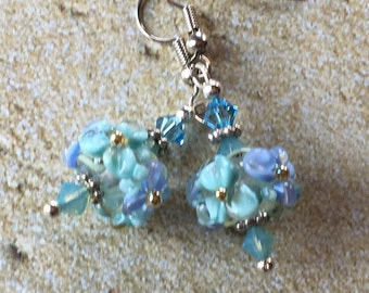 Flower Lampwork Earrings, Blue Floral Earrings, Lampwork Jewelry, Valentines Day Gift, Mothers Day, Gift For Her