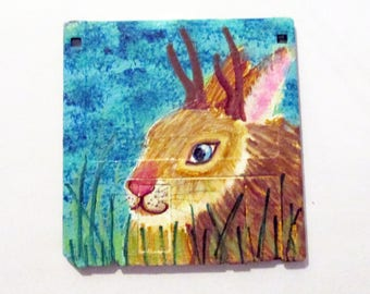 Jackalope painting - art on recycled floppy disk, children room decor, jackrabbit wall art, animal lover gift, geek, mythical folklore