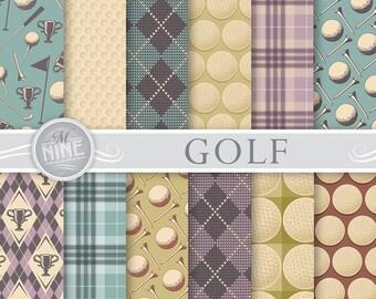 GOLF Digital Paper Golf Vintage Pattern Prints Patterns Background Scrapbook